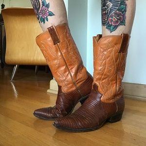 60s JUSTIN Lizard Skin Ladies Cowboy Boots 8 B
